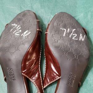 Franco Sarto Shoes - 7.5 narrow chocolate and tan slingbacks